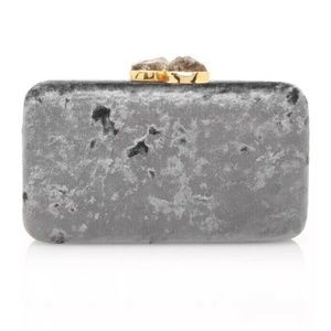 KAYU MARGAUX VELVET CLUTCH New With Tags Gray